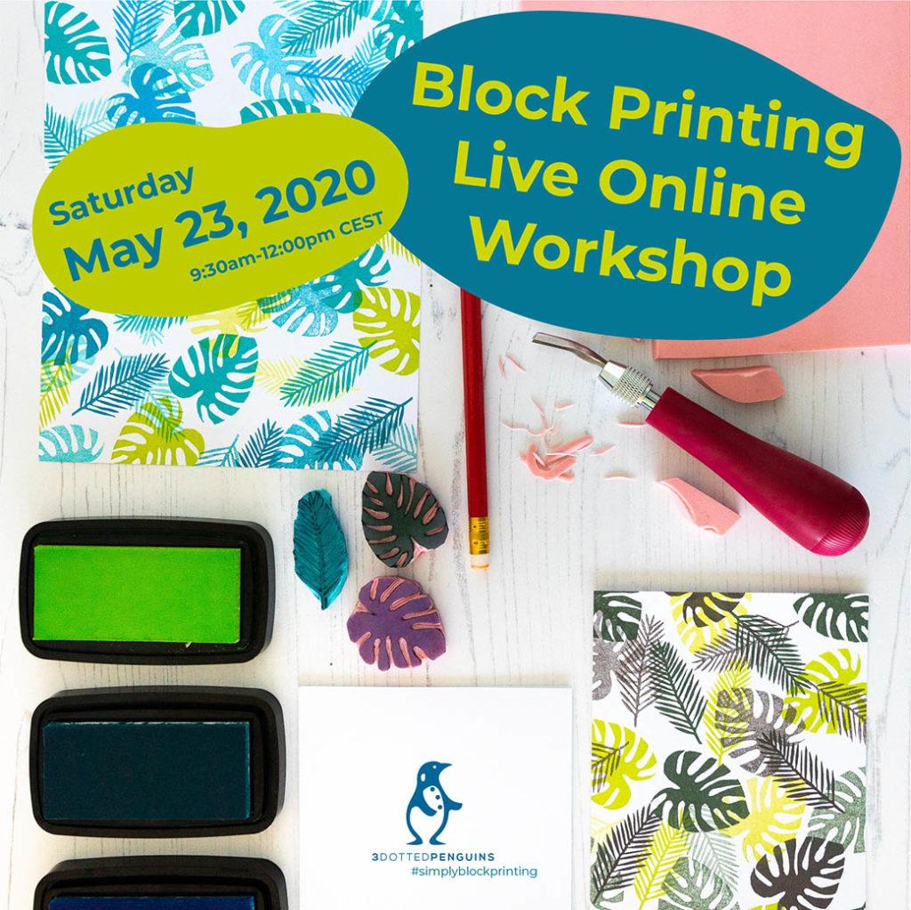block printing live online workshop 3dottedpenguins