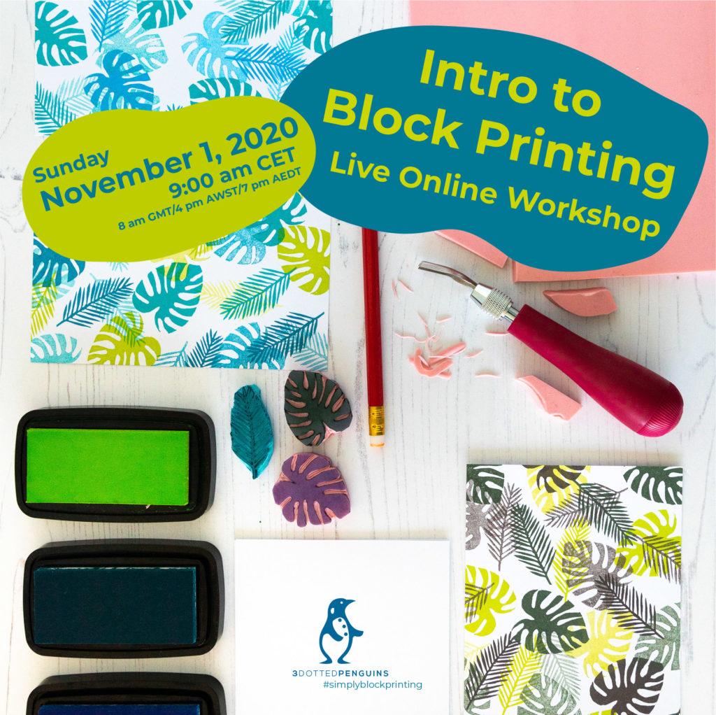 live online workshop intro to block printing