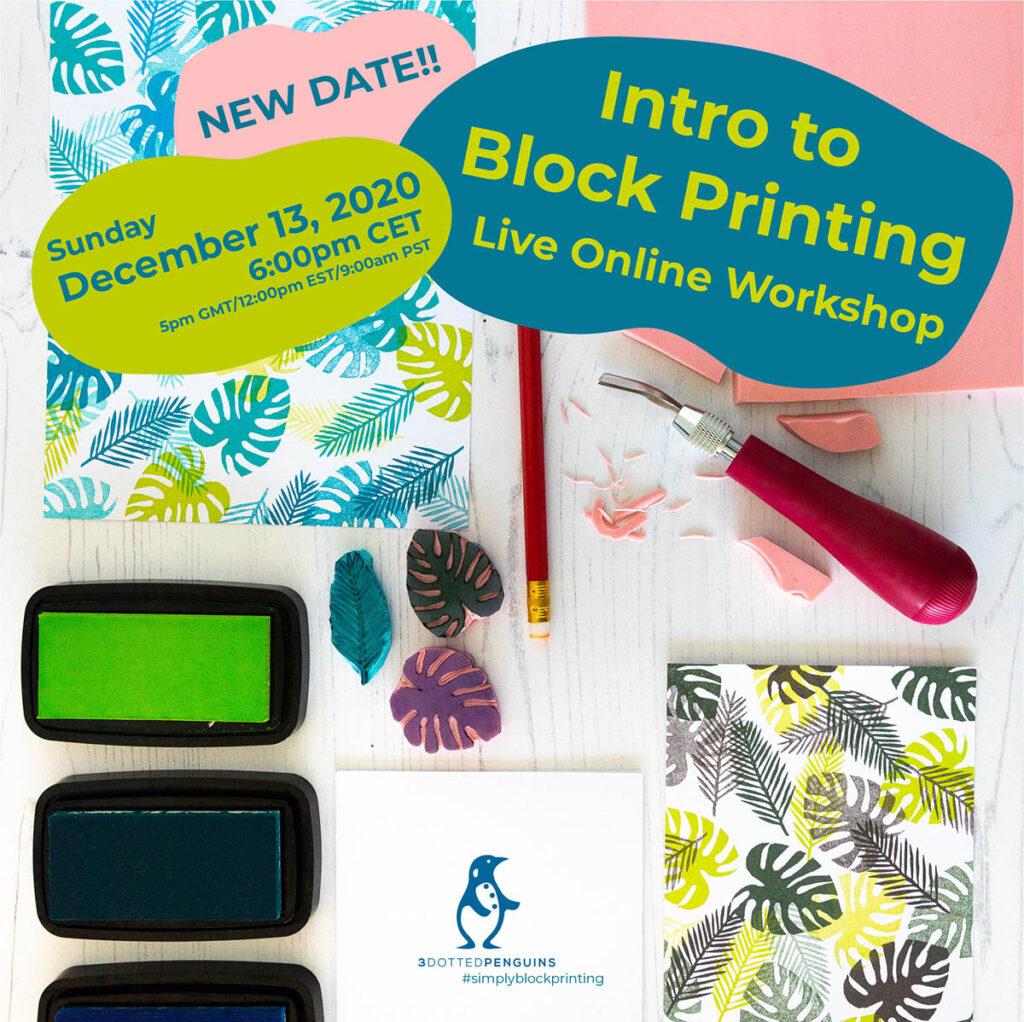 block printing workshop 3dottedpenguins