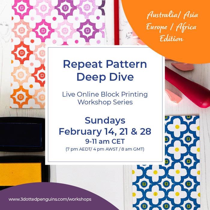 Repeat pattern block printing workshop series
