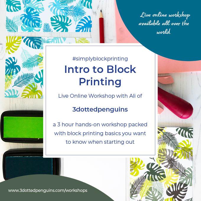 introduction to block printing workshop 3dottedpenguins