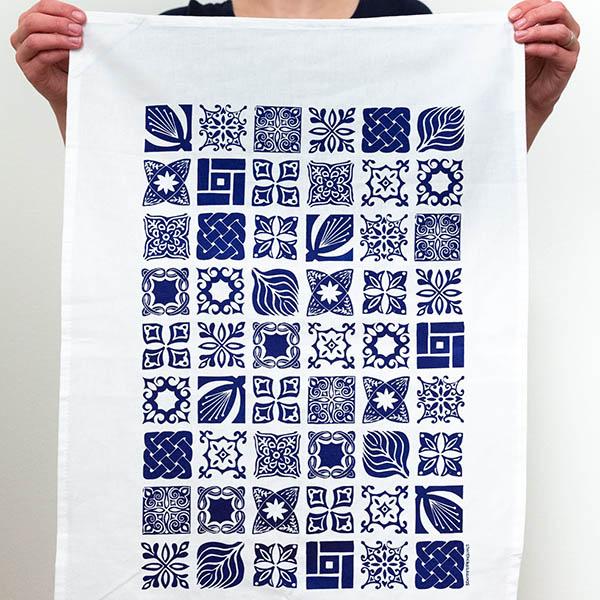 "3dottedpenguins ""Tiles"" Tea towel screen printed by hand"