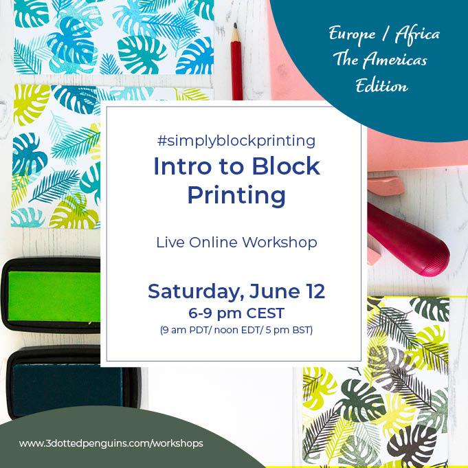 3dottedpenguins intro to blockprinting workshop