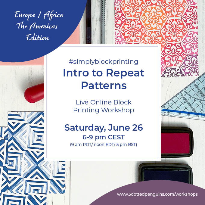 intro to Repeat Pattern Block printing workshop 3dottedpenguins