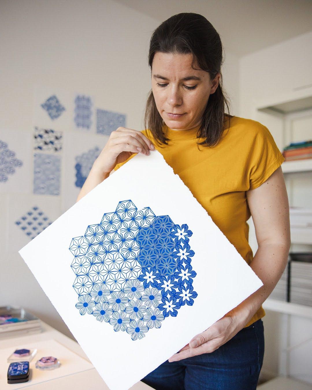 3dottedpenguins Ali printmaker surfacedesigner blockprinting studio_0198